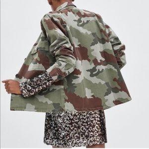 Zara Camo Denim Jacket